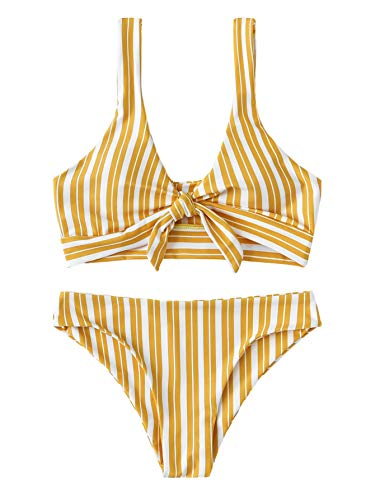 Professional Stripe Tie - SweatyRocks Women's Bikini Tie Knot Front Detachable Swimsuit Stripe Swimwear Set