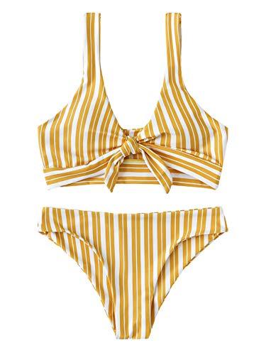 - SweatyRocks Women's Bikini Tie Knot Front Detachable Swimsuit Stripe Swimwear Set