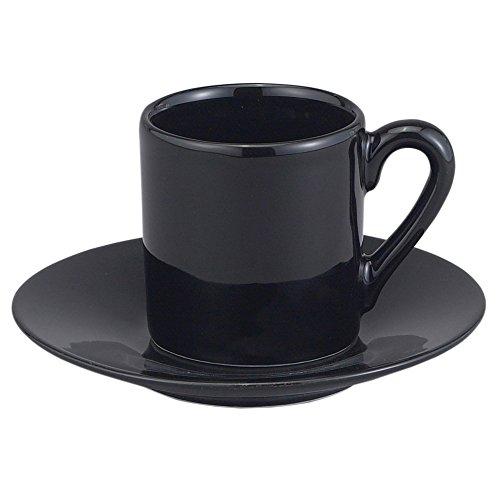 HIC 8-Piece Demitasse Espresso Cups Set, Fine Black Porcelain, Set Includes 4 Cups with Matching Saucers, 2.25-Ounces - Espresso 4 Piece