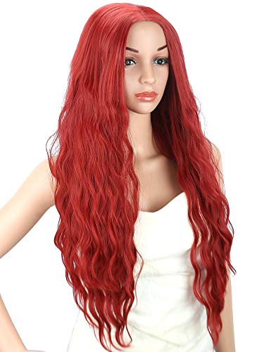 Kalyss Women's wig Burgundy Red Long Curly Wavy Premium Heat Friendly Synthetic Hair wig for Women -