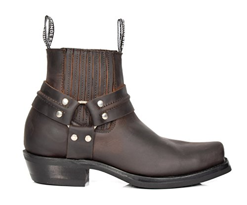Appuntito Scivolare Cowboy su Marrone Pelle Scarpe Stile in Vera Leather 04RE Chelsea Lo Biker Stivali Of House w8xv4q17q