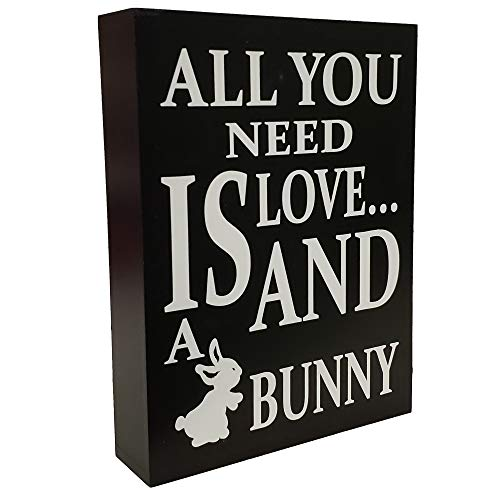 (JennyGems - All You Need is Love and a Bunny - Bunny Sign - Bunny Moms - Gifts for Bunny Moms - Rabbit Decor - Wood Sign)