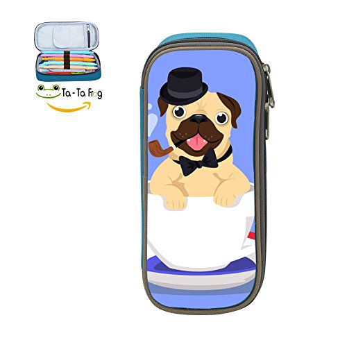 (Big Capacity Canvas Mobile Phone Bag Holder for Child,Print Pug Cup,Blue)