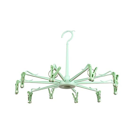 Crawl'in Plastic Hanger with 10 Pegs - Baby Diaper Nappy Clothes Hanging Dryer RaCrawl'in with Clips - Portable Fold