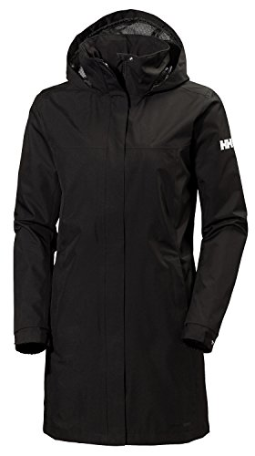 Helly Hansen Women's Aden Waterproof Breathable Hooded Long Rain Jacket, Black, Large