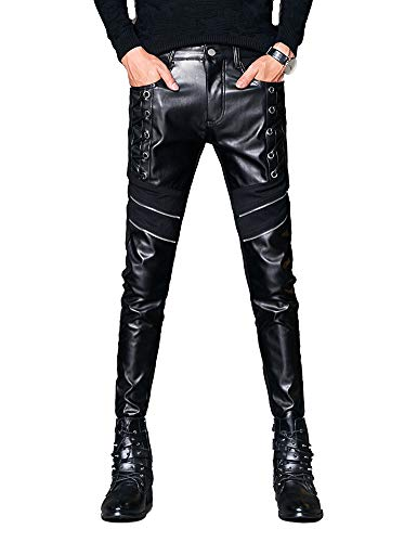 Idopy Men`s Black Punk Soft PU Faux Leather Motorcycle Biker Pants with Zippers
