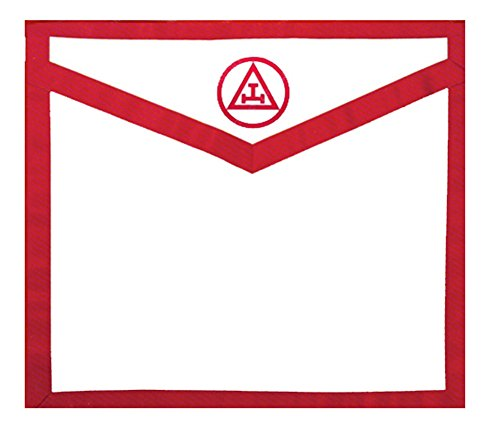 Masonic Royal Arch White and Red Duck Cloth Apron For Freemasons - Triple Tau Standard Red logo. Masonic Lodge Regalia and Apparel Merchandise. (Red Royal Arch Apron)
