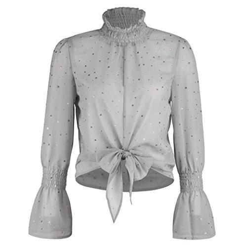 Turtleneck Flare (Theshy Women's Fashion Chiffon Floral Flare Sleeve Turtleneck Short Bow Shirt Print Top Blouse Crop (XXL, Gray))