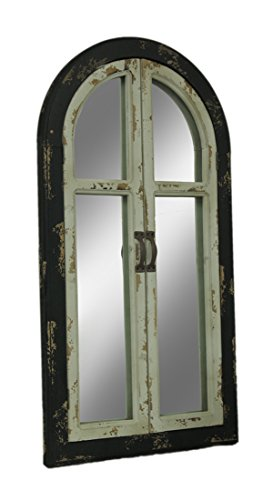 Zeckos Vintage Finish Wood Arched Window Frame Wall Mirror with -