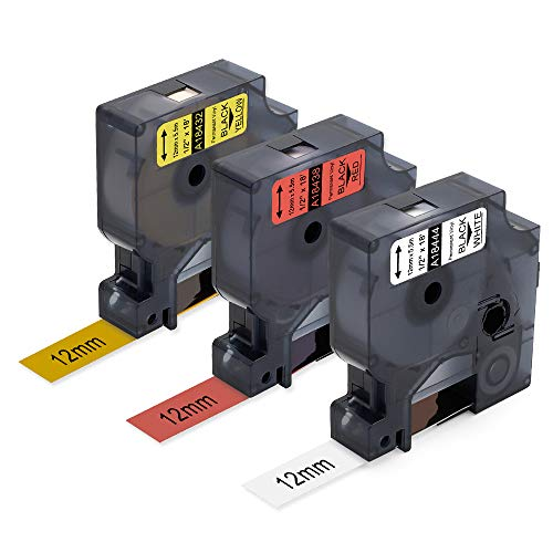 3 Pack 5.5m Compatible DYMO Rhino 4200 5200 Label Makers Industrial Permanent Vinyl Labels 18444,18438,18432(Black Print on White,Red,Yellow),12mm x 5.5m ()