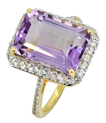 YoTreasure 3.53 Ct Pink Amethyst White Topaz Solid 14K Yellow Gold Princess Ring
