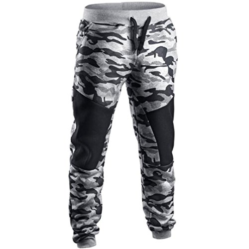 HHei_K Mens Vogue Camouflage Sweatpants, Men Fashion Patchwork Camouflage Pants Casual Sweatpant (L, Gray) by HHei_K