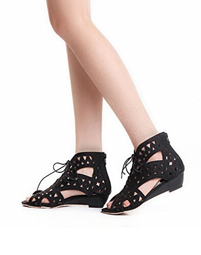 women Black sandals shoes sandals hollow Fish head with slope strap small comfortable flat 7x48vqw