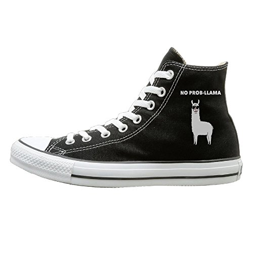 SH-rong No Prob Llama High Top Sneakers Canvas Shoes Fashion Sneakers Shoes Unisex Style Size 43