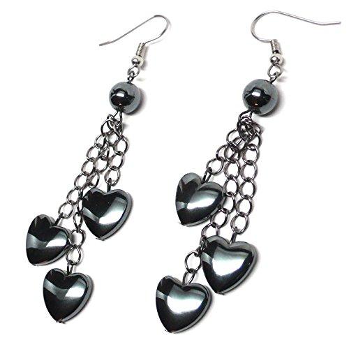 - Triple Hematite Hearts Long Chain Gunmetal Earrings