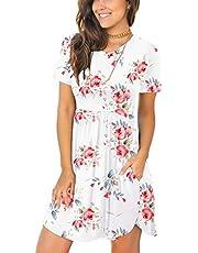 LONGYUAN Women's Summer Short Sleeve Casual Dresses Elastic Loose Comfy Swing Sundress with Pockets