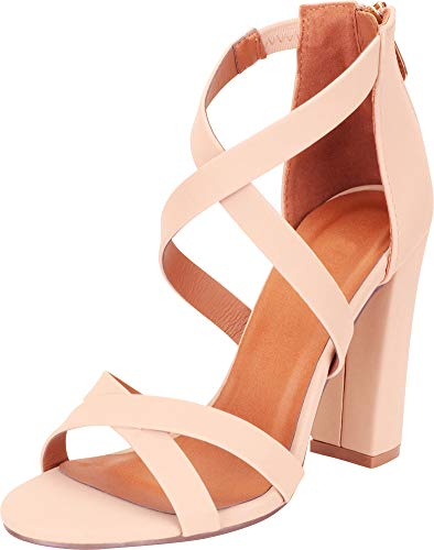 (Cambridge Select Women's Crisscross Strappy Chunky Block High Heel Sandal,8 B(M) US,Nude NBPU)