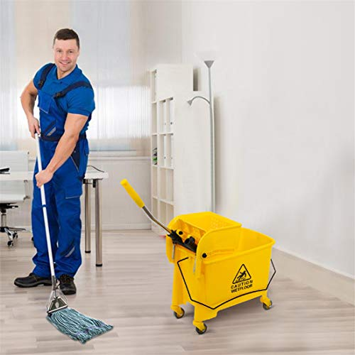 """heavKin 20L Cleaning Water Cart, 4 Wheel Home Hotel 5.28 Gallon Mop Bucket with Wringer Combo,Shipped from The US Warehouse (Yellow, 23.5"""" L x 10.75"""" W x 27.5"""" H)"""