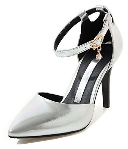 Aisun Womens Sexy Pointed Toe Buckled Dressy Stiletto High Heels DOrsay Pumps Shoes With Ankle Strap Silver xBmR3bCzZ