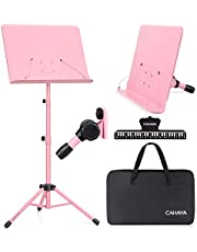 $21 » CAHAYA Dual-use Sheet Music Stand & Desktop Book Stand Metal Portable Solid Back with Carrying Bag, Sheet Music Folder & Clip, Projector Stand, Laptop Stand, Bible Book Stand, Tablet Stand