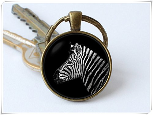 Zebra key chain, keyring, pendant, jewelry, Safari animals Animal key chain, Zebra head keyring.