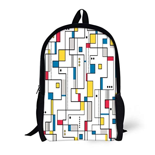 Pinbeam Backpack Travel Daypack Gray Bauhaus Yellow Red Blue Abstract Pattern Colorful Waterproof School Bag