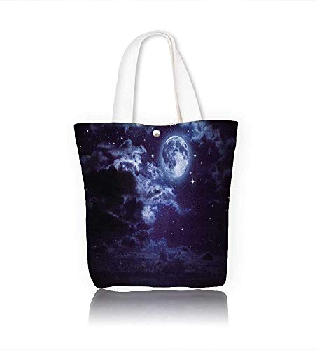 Women's Canvas Tote Bag moon and clouds in the night work school Shoulder Bag W14xH15.7xD4.7 INCH