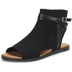 DREAM PAIRS RUULE New Women Open Toe Fashion Mesh Side Zipper Summer Design Flat Sandals Black Size 8.5