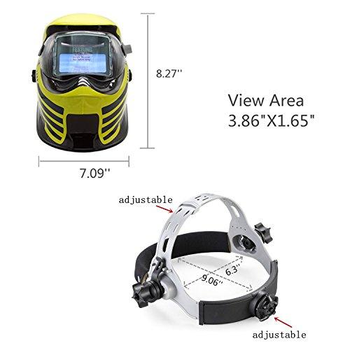 Doitpower Solar-powered Auto-darkening Welding Helmet with 4 Arc Sensors Two Shade Ranges #5-8/9-13 Suede Safety Work Welding Glove Included by Doitpower (Image #1)