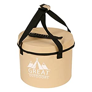 Best Collapsible Water Container Bucket - 2.6 Gallon Portable Folding Water Storage Container Bucket with Lid,Comfortable Handles and Mesh Pocket by Great Outdoors