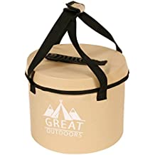 Great Outdoors Best Collapsible Water Container Bucket - 2.6 Gallon Portable Folding Water Storage Container Bucket with Lid,Comfortable Handles and Mesh Pocket by