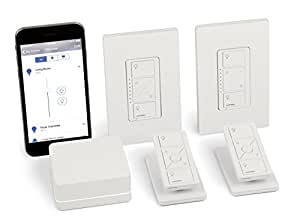 LUTRON P-BDG-PKG2W Caseta Wireless Smart Lighting Deluxe Kit: 1 Smart Bridge, 2 In-Wall Smart Dimmers with Wallplates, 2 Pico Remotes, 2 Tabletop Pedestals, Works with Alexa
