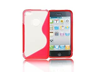 Silicone Bicolor Transparent Glue Hard Case Back Cover for iPhone 4G + Worldwide free shiping