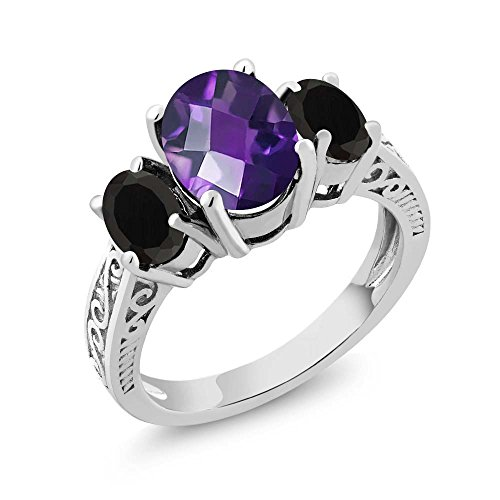 Gem Stone King 2.38 Ct Oval Checkerboard Purple Amethyst Black Onyx 925 Silver 3-Stone Ring (Size 6)