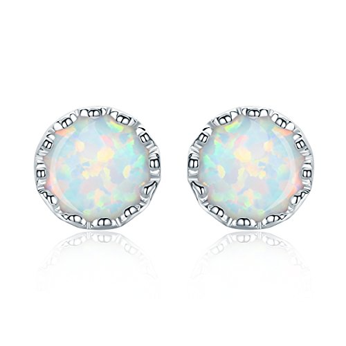 BISAER Genuine 925 Sterling Silver Milky Iridescence Solitaire Opal Small Round Stud Earrings for Women girls (Small Genuine Round Solitaire)