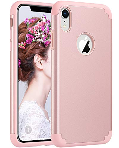 ULAK iPhone XR Case for Girls, Slim Fit Hybrid Soft Silicone Hard Back Cover Anti Scratch Bumper Design Protective Case for Apple iPhone XR 6.1 inch 2018 (Rose Gold)
