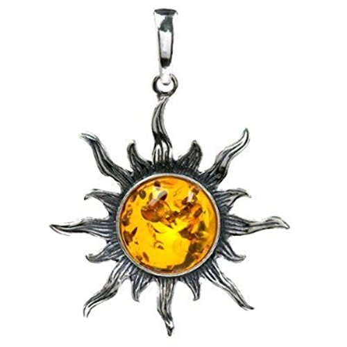Amber Sun Amber Necklace (Honey Amber Sterling Silver Sun Medium Pendant)