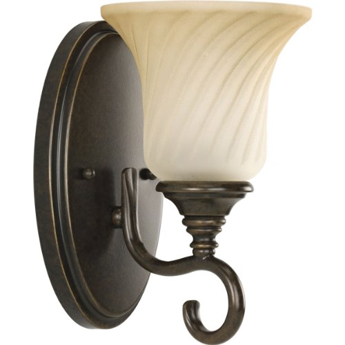 Progress Lighting P2783-77 1-Light Bath Features Scrolled Metalwork with Trumpet-Shaped Textured Glass Shades, Forged Bronze (Bath Bronze Forged)