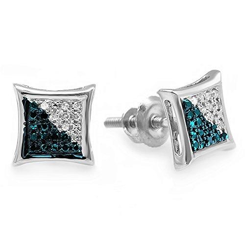 ion 0.10 Carat (ctw) Round Blue & White Diamond Micro Pave Kite Shape Stud Earrings, Sterling Silver ()