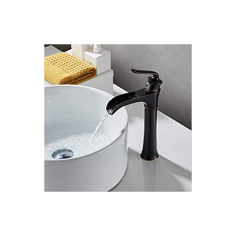 Farmhouse Waterfall Bathroom Faucet for Vessel Sink Single Hole Bowl Mixer Tap, MYHB Oil Rubbed Bronze SH8012H