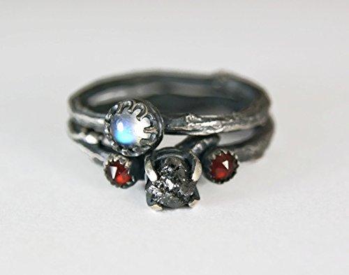 Rough Black Diamond Sterling Silver Twig Ring Moonstone Engagment Set by Tazzies Custom Jewelry LLC