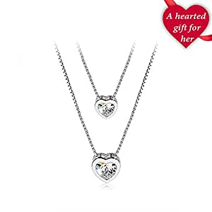 """Rosée Necklace """"Double Layer Heart"""" 925 Sterling Silver 3A Zirconia"""