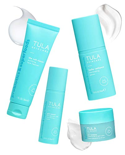 TULA Probiotic Skin Care Discovery Kit - Travel-friendly Facial Cleanser, Day & Night Moisturizer, Illuminating Serum & Pro-Glycolic Resurfacing Gel for Glowing and Youthful Skin