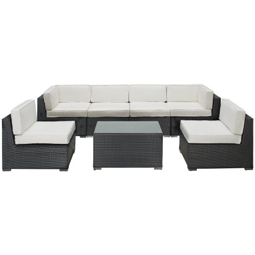 LexMod Aero Outdoor Wicker Patio 7-Piece Sectional Sofa Set in Espresso with White Cushions
