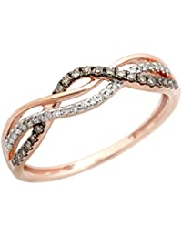 Twisted Half Eternity Anniversary Ring With Round Natural Brown & White Diamond