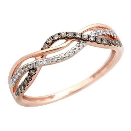 Twisted Half Eternity Anniversary Ring With Round Natural Brown & White Diamond, 14k Rose Gold, Size 9.5 - Gold Half Eternity Diamond