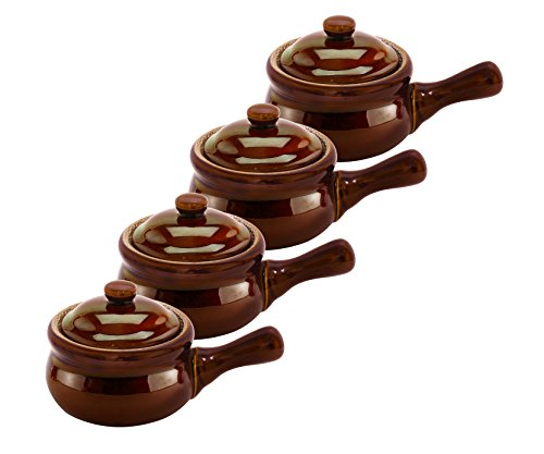 HIC Individual French Onion Soup Crock Chili Bowls with Handles and Lids, Ceramic Stoneware, Brown, 14-Ounce Capacity, Set of 4 (Oven And Broiler Safe compare prices)