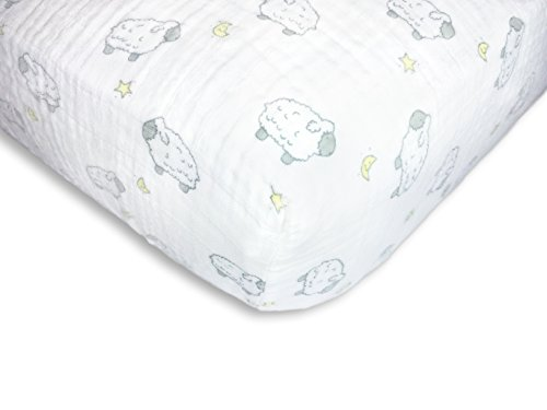 SwaddleDesigns Cotton Muslin Crib Sheet, Sterling Little Lambs