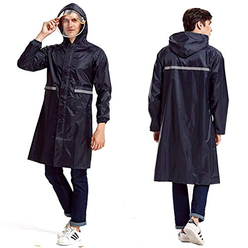 Rain Poncho Long Reflective Waterproof Raincoat with Hood for Men Adult Navy Blue
