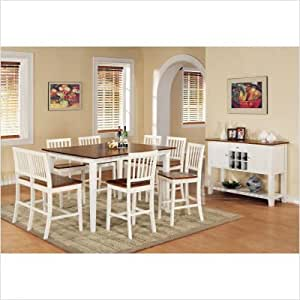 Bundle-10 Branson Counter Height Dining Table Set in White and Oak (9 Pieces)